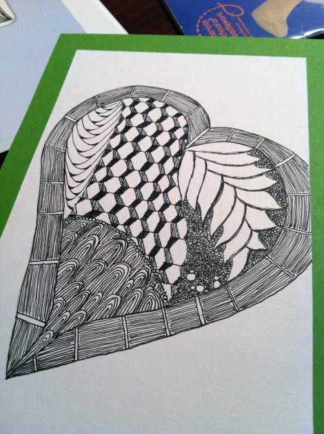 I Zentangled a heart on the inside left cover. No blank space allowed!