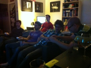 Guys Watching a Horror Movie
