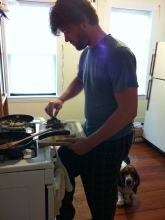 Chris and Rupert Making Breakfast