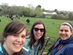 Me, Meaghan and Emily on our cliff walk...with cows.