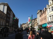 Street in Cardiff with dragon flags